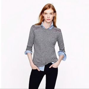J.Crew JEWELED-SHOULDER SWEATER Gray  Size Small